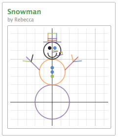Desmos online graphing calculator snowman image